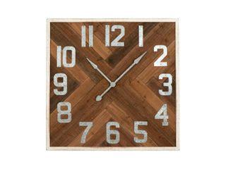 36  Square Herringbone Inlay Distressed Wood Wall Clock  Retail 195 49