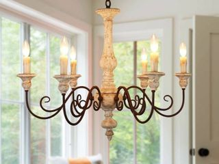 French Country Candle style Wood Chandelier  Royal Farmhouse Wooden Chandelier   33 inches  Retail 335 49