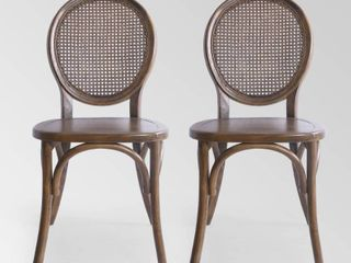 Chrystie Elm Wood and Rattan Dining Chair  Set of 2  by Christopher Knight Home  Retail 298 99