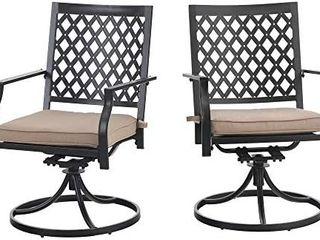 Patio Swivel Chairs Set Of 2 Metal Dining Rocker Chair With Cushion For Outdoor