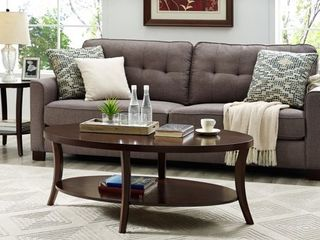 Perth Espresso Round End Table with Shelf  Retail 181 49