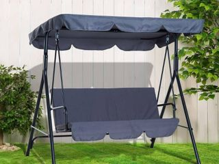 Rira 3 person Steel Grey Sling Fabric Porch Swing with Canopy by Havenside Home  Retail 97 49