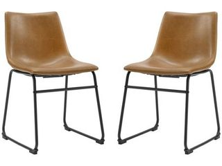 18  Faux leather Dining Chair 2 pack   Whiskey Brown
