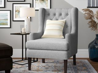 Ryan Diamond Button Tufted Wingback Accent Chair  Retail 225 49