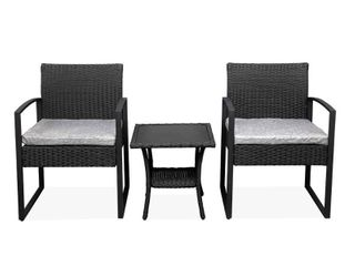 Oshion Outdoor Balcony Terrace Double Coffee Table 3 piece Rattan Mini leisure Set   Brown  Retail 146 99