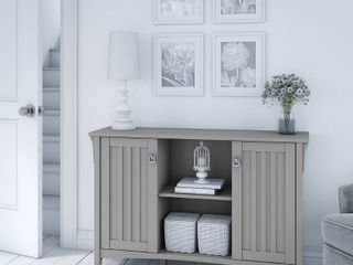 The Gray Barn lowbridge Cape Cod Grey Accent Storage Cabinet with Doors   46 22 l x 12 76 W x 29 96 H  Retail 172 99