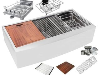 Ariel Enthous Workstation 42 Inch Farmhouse Apron 16 Gauge Double Bowl Stainless Steel Kitchen Sink Integrated ledge 15mm Radius  Retail 615 99