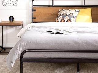 Priage by ZINUS Brown Metal and Wood Platform Bed Frame  Retail 404 49
