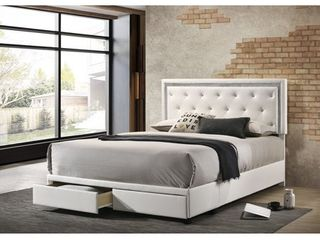 Best Quality Furniture Storage Bed Tufted with Faux Crystals and Faux Diamond Strip  Retail 568 99