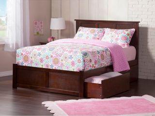 Madison King Platform 2 Urban Bed Drawers in Walnut  Retail 742 49