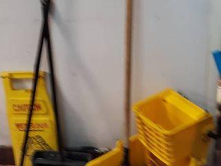 mop bucket broom sign
