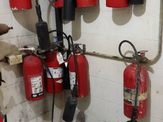 8 fire extinguishers and boots