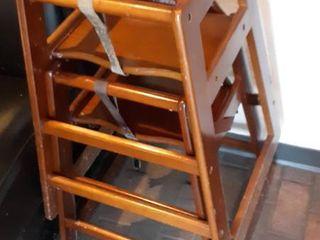 2 wood high chairs