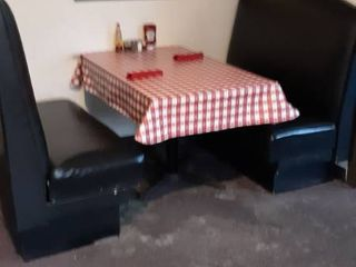 single booth opening with table