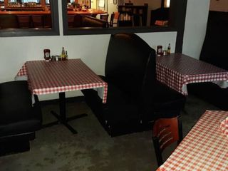 2 booth openings with tables