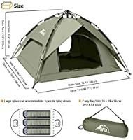 BFUll Instant Pop Up Camping Tents for 2 3 Person Family  Dome Waterproof Sun Shelters Backpacking Tents Quick Set up for Camping Hiking Outdoor Activities