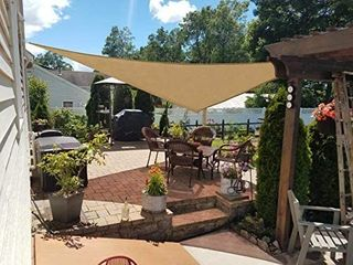 HENG FENG Sand Triangle Sun Shade Sail UV Block for Patio Deck Yard and Outdoor