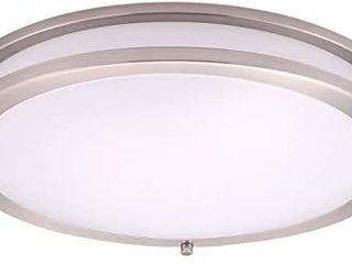 16 Inch lED Flush Mount Ceiling light  Dimmable Round light Fixture  Brown Finish  Plastic Shade 24 Watts  150W Eq   1680 lm 2700K  Warm light   ETl and Energy Star listed