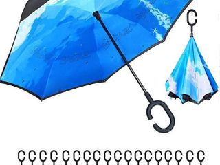 BAGAIl Double layer Inverted Umbrella Reverse Folding Umbrellas Windproof UV Protection Big Straight Umbrella for Car Rain Outdoor with C Shaped Handle SUNFlOWER