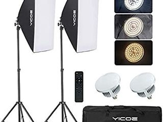 YICOE Softbox lighting Kit Photography Photo Studio Equipment Continuous lighting System with 5700K Energy Saving light Bulb