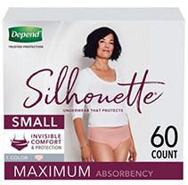 Depend Silhouette Incontinence Underwear for Women   Maximum Absorbency   Small   Pink   60ct  2 Packs of 30