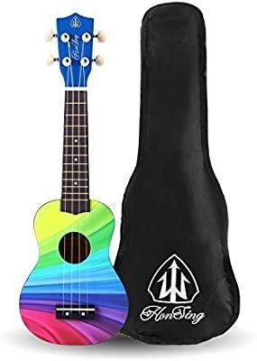 Honsing Kids Ukulele Soprano Ukulele Beginner Hawaii kids Guitar Uke Basswood 21 inches with Gig Bag  Rainbow Color matte finish