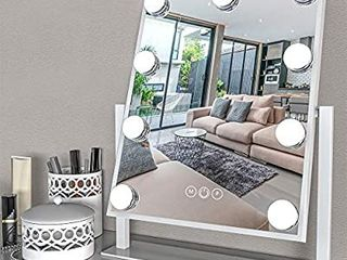 Fenair lighted Vanity Mirror   Hollywood Style Makeup Vanity Mirror with lights and Magnification 3 Color Model  Cosmetic Mirror with 9 Detachable Dimmable Bulbs for Dressing Tablei1 4White