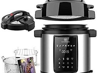 6Qt Pressure Cooker   Air Fryer Combos   Steamer Cooker  All in One Multi Cooker with Pressure   Crisping lid  lED Touchscreen  1500W Pressure  Air Fryer with 3 Qt Air Fry Basket