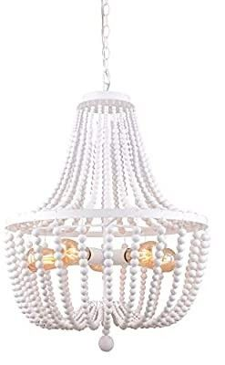 Alice House 21  Wood Bead Chandeliers  Rustic White Finish  5 light Wood Beaded Pendant light for Dining Room  Kitchen  living Room  Entryway and Bedroom Al9031 P5