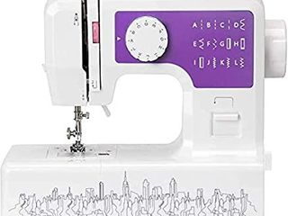 YOUXIN Mini Electric Sewing Machine Portable  Household Multi Function Crafting Mending Sewing Machines for Adult Beginners  12 Stitches  2 Speeds  Foot Pedal  lED Sewing light   Purple