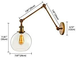 KWOKING lighting Industrial Vintage Style 1 light Wall Sconces Adjustable Swing Arm Wall Sconce Wall light lamp Fixture with Clear Globe Shade for Bedroom living Room Restaurant Barn Warehouse Brass BONUS  APPEARS TO HAVE 2 BASE WITH SWING ARM