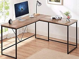 HSH l Shaped Computer Desk  Metal and Wood Rustic Corner Desk