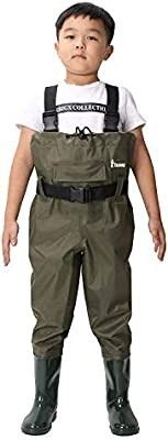 Ouzong Chest Waders for Kids  lightweight Cleated Nylon and PVC Fishing Bootfoot Chest Waders