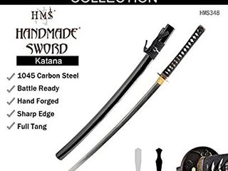 HMS Japanese Samurai Katana Sword  Warrior and Horse Tsuba  Hand Forged  1045 Carbon Steel  Heat Tempered  Full Tang  Sharp