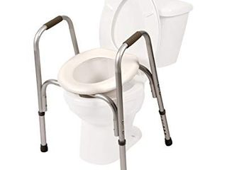 PCP Adjustable Raised Toilet Seat With Safety Frame  Silver Frost