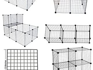 lANGXUN 16pcs Metal Wire Storage Cubes Organizer  DIY Small Animal Cage for Rabbit  Guinea Pigs  Puppy   Pet Products Portable Metal Wire Yard Fence