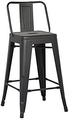 Christies Home living ACBS02 24 Bar Stool  24  Matte Black Set of 2