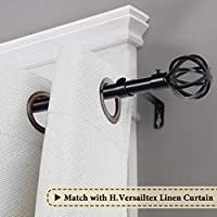 H VERSAIlTEX Window Treatment Curtain Rod Set with Metal Rods and Finials  3 4   Inch Diameter Curtain Rod for Windows  48 Inch to 84 Inch