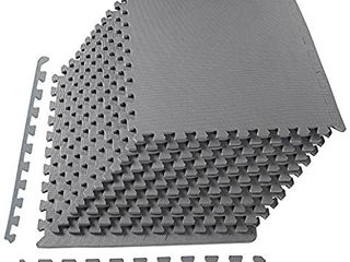 Balancefrom Puzzle Exercise Mat With Eva Foam Interlocking Tiles Grey