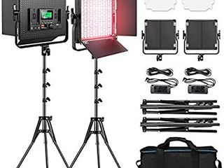 RGB led Photography lighting  Pixel 2 Packs Full Color led Video light  552PCS lED Beads 45W CRI 97 2600K 10000K 9 Applicable Scenes  led light Panel with U Bracket Barn Door for Video Shooting