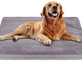 JoicyCo large Dog Crate Bed Mat Dog Beds Mattress Pet Bed for large Dogs Foam Cushion Anti Slip with Washable Cover