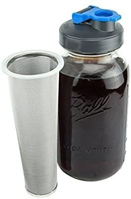 Cold Brew Mason Jar Coffee Maker by County line Kitchen   2 Quart  64 oz a Durable Glass Jar  Heavy Duty Stainless Steel Filter  Flip Cap lid For Easy Pouring  Save     Easily Make Your Own Cold Brew