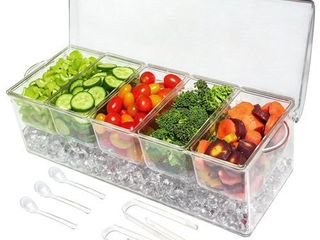 Ice Chilled 5 Compartment Condiment Server Caddy  Serving Tray Container with 5 Removable Dishes with over 2 Cup Capacity Each and Hinged lid 3 Serving Spoons   3 Tongs Included