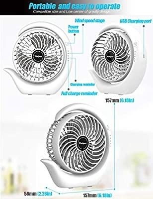 viniper Battery Operated Fan  USB Desk Fan   180A Rotation and 3 Speeds Strong Wind Portable Quiet Fan  Optimised Battery   longer Working Hours  Small but Mighty  Strong Cooling