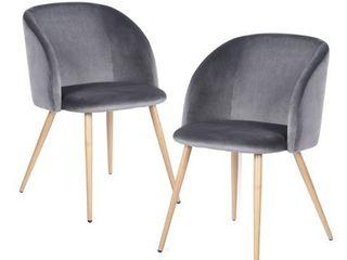 FurnitureR Grey Velvet Dining Chair With Metal legs Ynez  2PCS