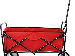 Collapsible Outdoor Utility Wagon  Heavy Duty Folding Garden Portable Hand Cart  with 8  Rubber Wheels and Drink Holder  Suit for Shopping and Park Picnic  Beach Trip and Camping  Red  BONUS WITH SUNSHADE TOP