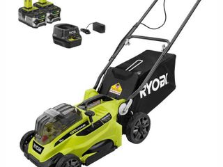 RYOBI 16 in  ONE  18 Volt lithium Ion Cordless Battery Walk Behind Push lawn Mower Two 4 0Ah Batteries Charger Included