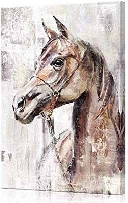 lamplig Horse Pictures Farmhouse Horses Canvas Wall Art Brown Stallion Prints Painting