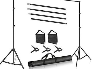 Photo Studio 10ft 3m Wide Cross Bar 6 6ft 2m Tall Adjustable Background Stand Backdrop Support System with 3 Backdrop Clamps  2 Sandbags and Carry Bag for Portrait Product Video Photography
