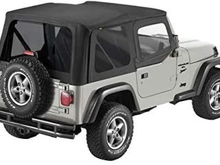 Pavement Ends by Bestop 51197 35 Black Diamond Replay Replacement Soft Top Tinted Back Windows w Upper Door Skins for 1997 2006 Jeep Wrangler